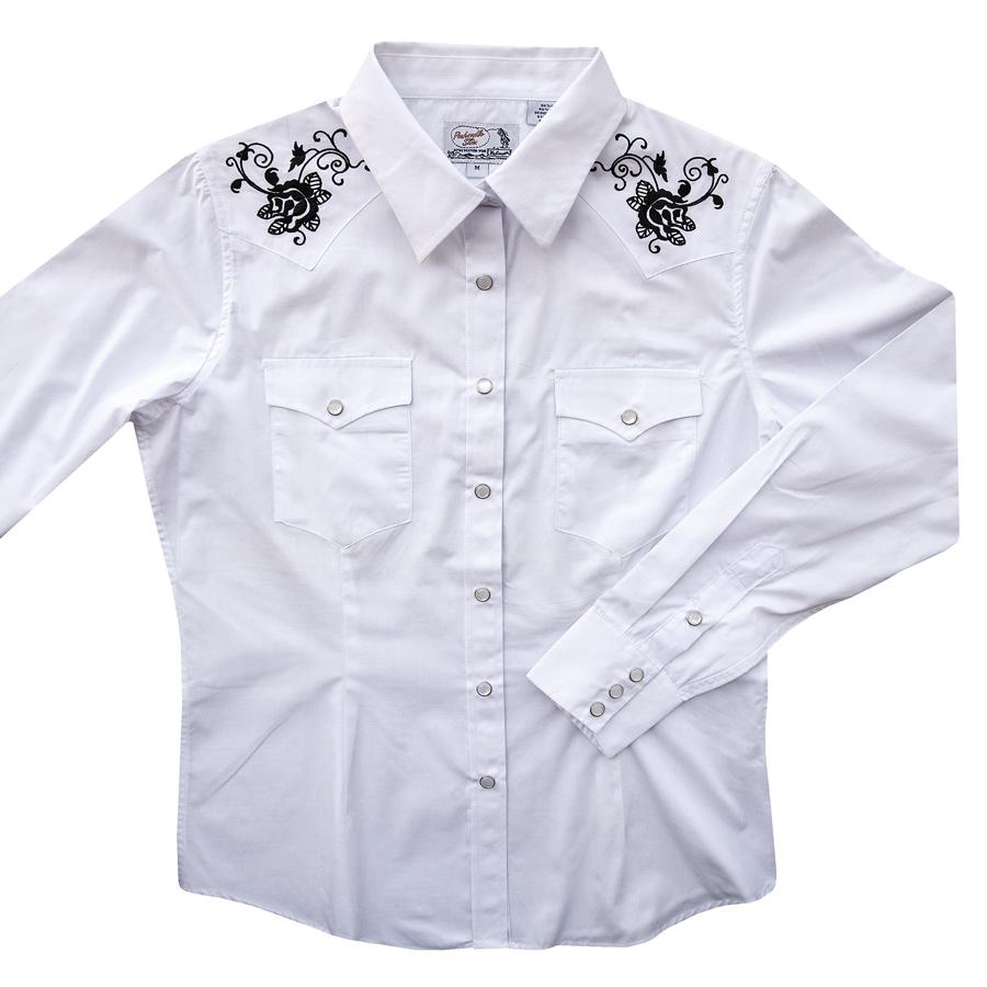 画像1: パンハンドルスリム ローズ刺繍 ウエスタンシャツ ホワイト・ブラック(レディース・長袖)M/Panhandle Slim Long Sleeve Western Shirts White/Black(Women's) (1)