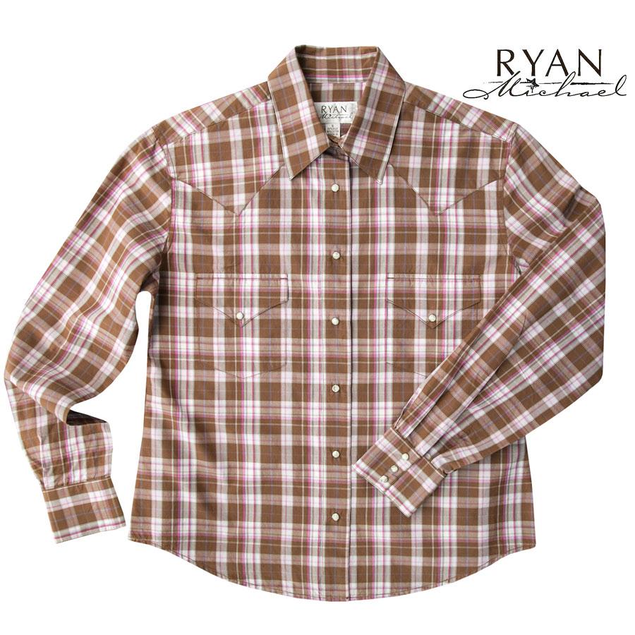 画像1: ライアン マイケル シルクブレンド ウエスタン シャツ(ブラウン/ピンク・長袖)S/Ryan Michael Long Sleeve Western Shirt(Women's) (1)