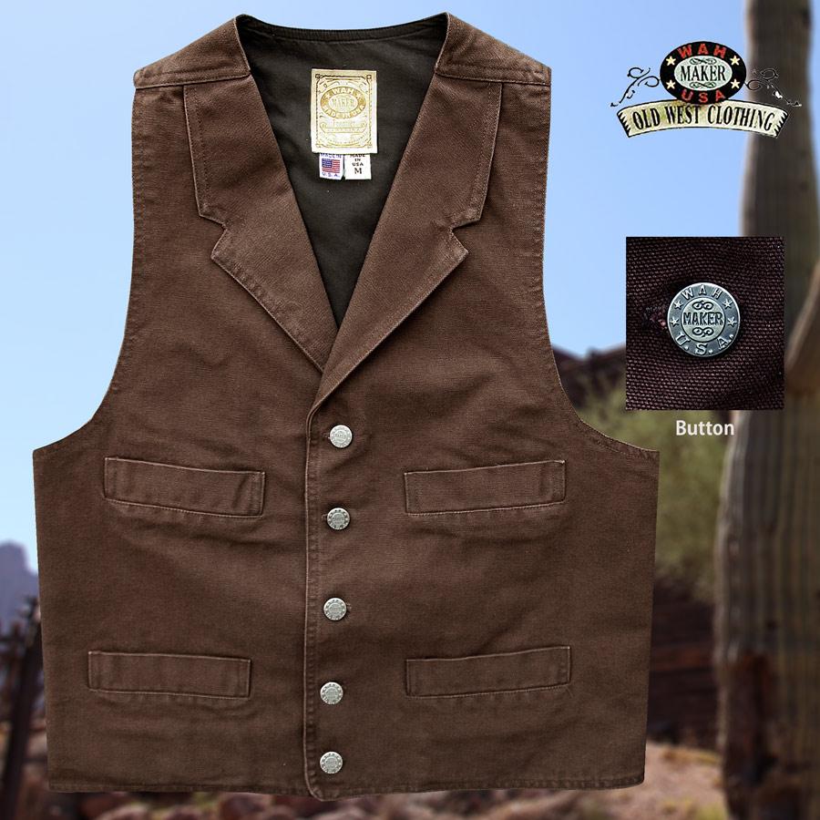 画像1: ワーメーカー キャンバス ベスト(ブラウン)S/Wah Maker Canvas Vest (Walnut) (1)