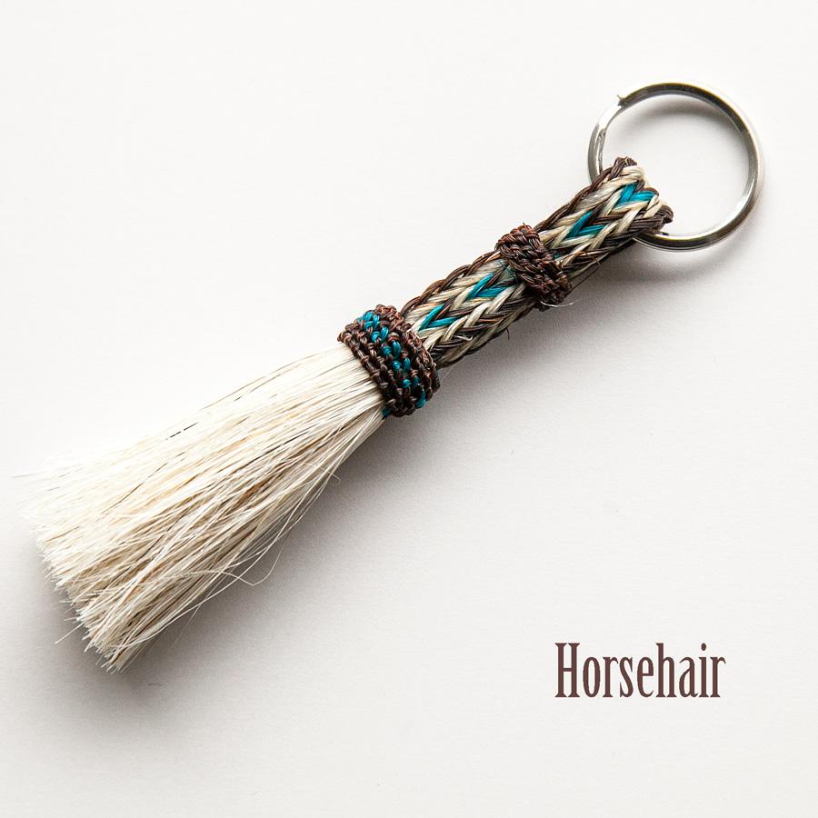 画像1: ホースヘアー 馬の毛 キーホルダー(ブラウン・ターコイズ)/Horse Hair Key Holder (1)