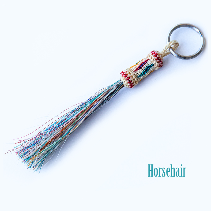画像1: ウエスタン ホースヘアー(馬の毛)キーホルダー(タン・レッド)/Key Ring (1)
