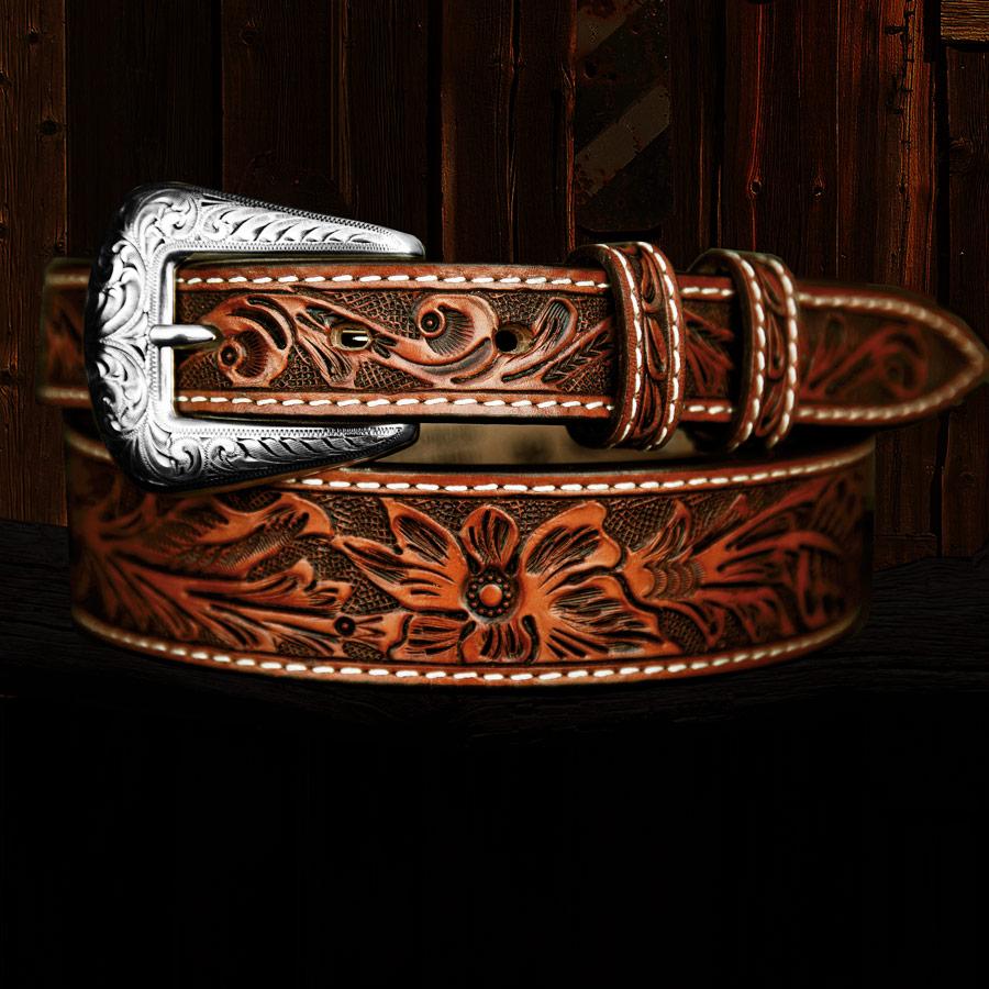 画像1: フローラル テーパード ウエスタン レザーベルト(ブラウン)/Western Leather Belt(Brown) (1)