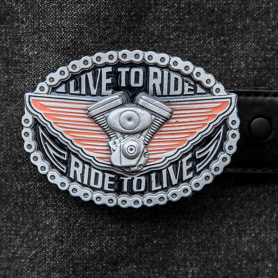 画像1: アメリカン バイカー バックル LIVE TO RIDE RIDE TO LIVE/American Biker Belt Buckle (1)