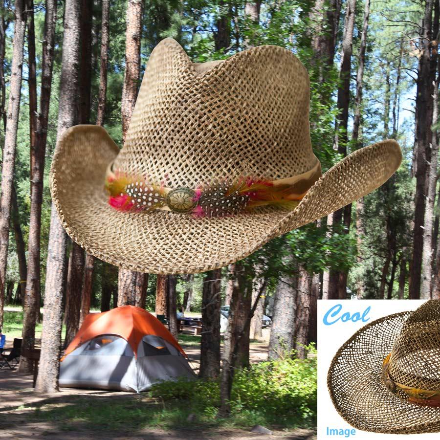 画像1: カウボーイ ストローハット(ナチュラル・ブラウン)/Western Straw Hat (1)
