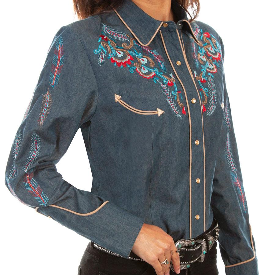 画像1: スカリー 刺繍 ウエスタン シャツ(長袖/デニム・フェザー&フラワー)/Scully Long Sleeve Western Shirt(Women's) (1)