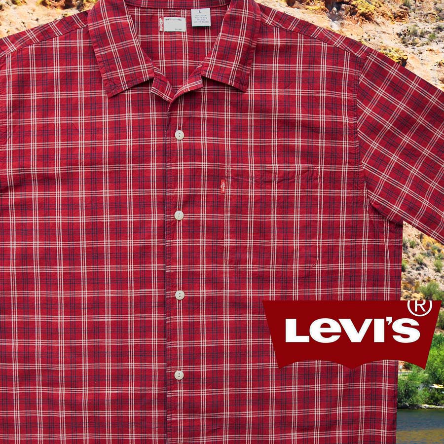 画像1: リーバイス 半袖 シャツ(レッド・ネイビー・ホワイト)/Levi's Plaid Shortsleeve Shirt (1)