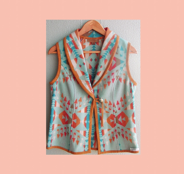 画像1: ペンドルトン レディース ウール ベスト(ライトターコイズ)/Pendleton  Wool Vest Brown Turq(Women's) (1)